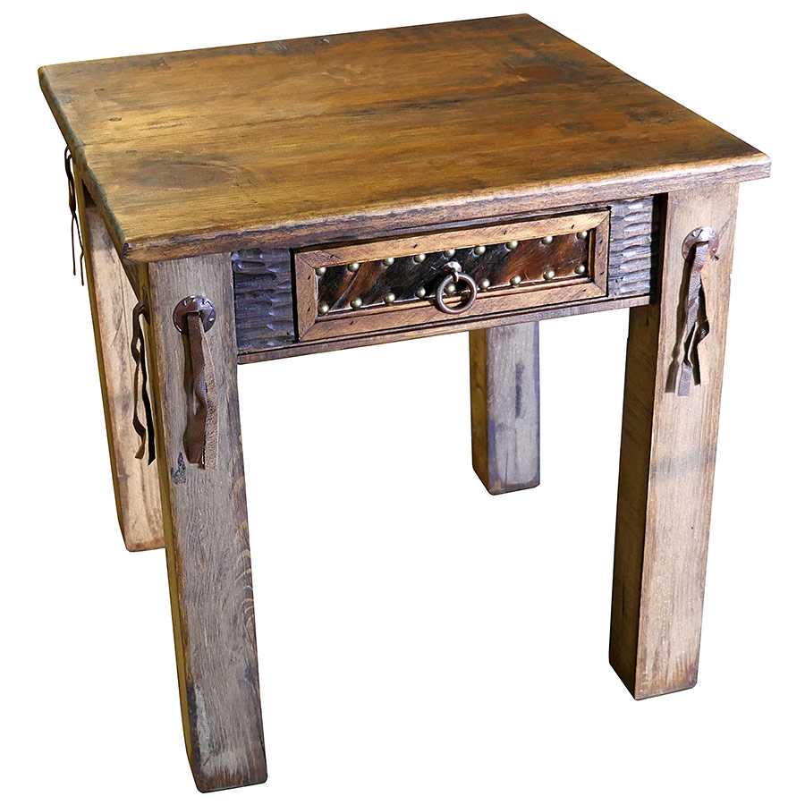 Rustic Western End Table With Cowhide Drawer Leather Strips