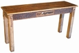 Rustic Western Sofa Table with Cowhide Drawer & Leather Strips