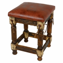 Rustic Western Stool With Faux Leather Cushioned Seat