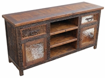 Rustic Western TV Console with Cowhide