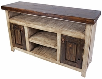 Rustic Whitewashed Painted Wood Entertainment Console with 2 Doors & 3 Shelves