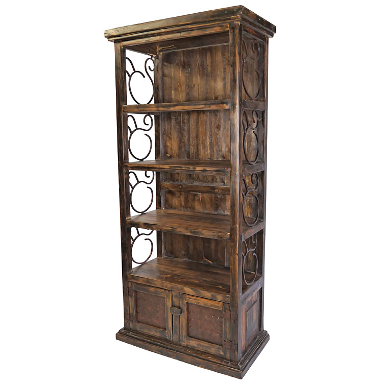 Rustic Wood Book Shelf With Iron Scrolls And Panel Doors