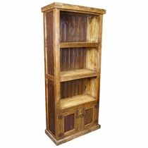 Rustic Wood Bookcase with Corrugated Tin Panels