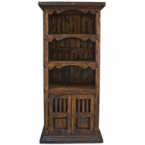 Rustic Wood Bookshelf with Doors