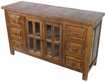 Rustic Wood Buffet with Glass Panel Doors and 6 Drawers