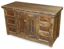 Rustic Wood Buffet with Iron Accents 2 Doors - 6 Drawers