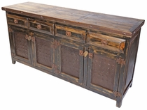 Rustic Wood Buffet with Iron Band and Hammered Iron Door Panels