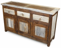 Rustic Wood Buffet with Natural Barnwood Accents