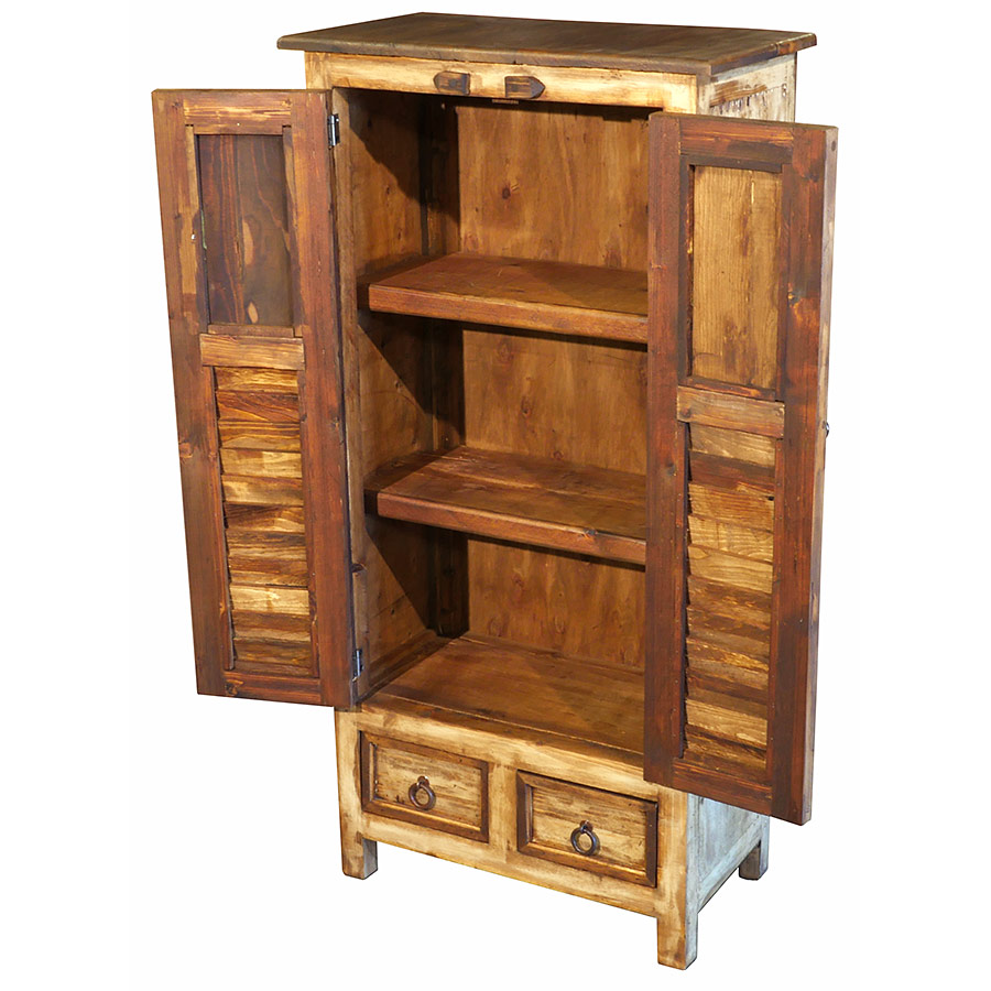 Rustic Wood Cabinet with Multi-Color Slat Doors & Carving