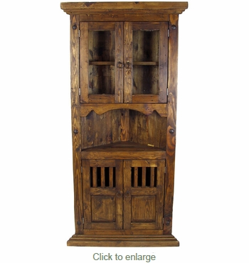 Rustic Wood Corner Cabinet With Glass Doors
