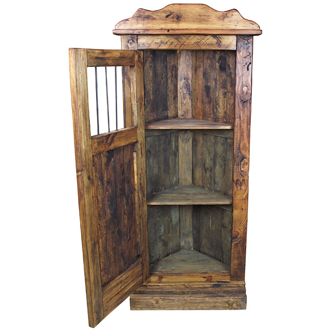 Popular Rustic Wood Corner Cabinet with Iron Bars IW48