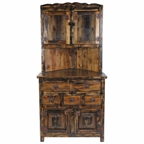 Rustic Wood Corner Cabinet with Top Glass Doors and 5 Drawers