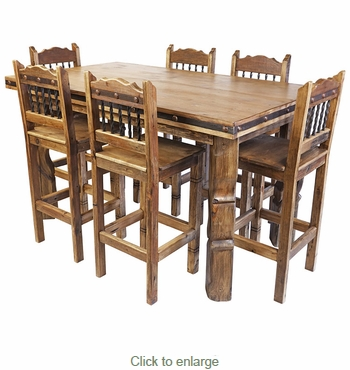 Rustic Wood Counter Height Dining Table Set with 6 Bar Stools
