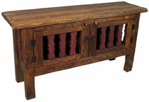 Rustic Wood Credenza With Red Slat Doors