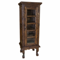 Rustic Wood Curio Cabinet with Glass