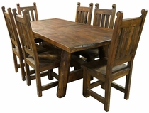 Rustic Wood Dining Table Set with 6 Chairs