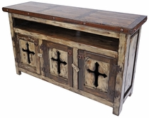 Rustic Wood Entertainment Console with Cross Cut Out Doors