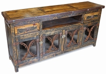 Rustic Wood Entertainment Credenza with Iron Band and Scroll Doors