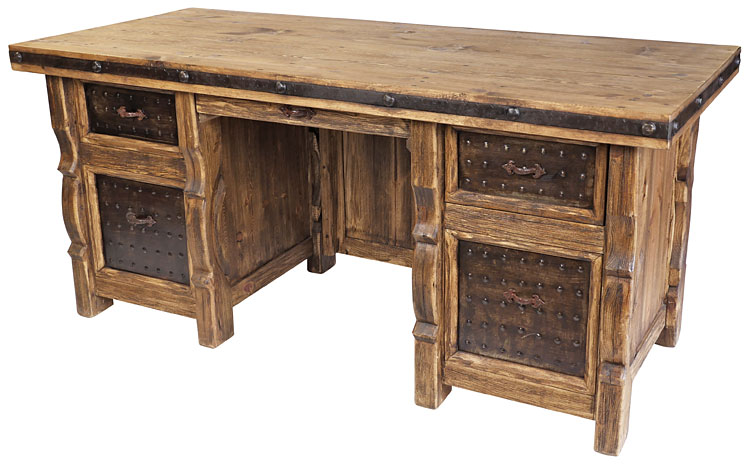 Superieur Rustic Wood Executive Office Desk With Iron Panel Insets