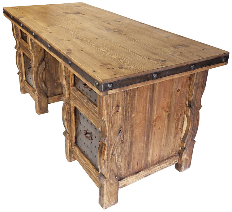 Rustic Wood Executive Office Desk With Iron Panel Insets
