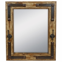 "Rustic Wood Mirror With Iron Coat Hooks & Nailheads - 26"" x 32.5"""