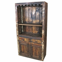 Rustic Wood Open Wine Bar & Cabinet