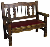 Rustic Wood Ox Yoke Bench with Padded Seat
