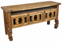 Rustic Wood Ox Yoke Entertainment Console