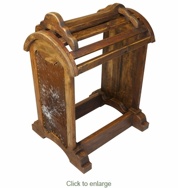 Rustic Wood Saddle Stand With Cowhide Sides