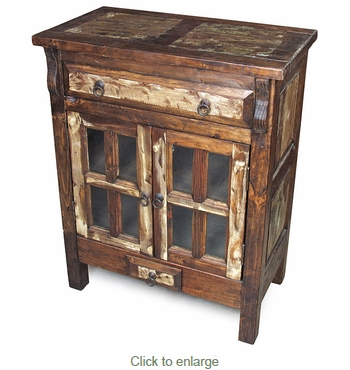 Rustic Wood Server With Window Frame Glass Doors