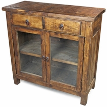 Rustic Wood Sideboard with Glass Doors and 2 Drawers