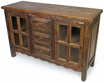 Rustic Wood Sideboard With Glass Framed Doors