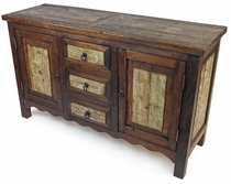 Rustic Sideboard with Weathered Whitewashed Panels - 2 Door - 3 Drawer