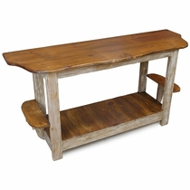 Rustic Wood Sofa Table with Side Shelves