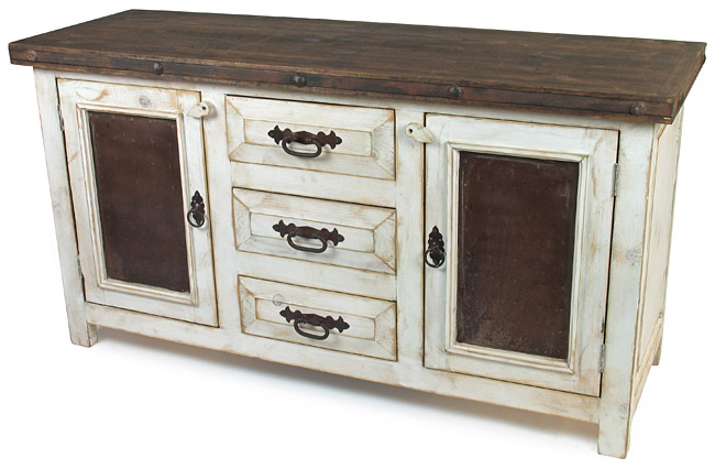 . Rustic Wood Whitewashed Sideboard with Tin and Iron