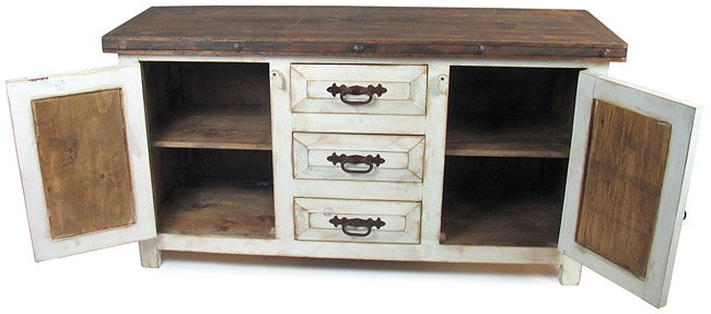 Rustic Wood Whitewashed Sideboard With Tin And Iron