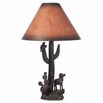 Saguaro and Desert Bighorn Carved Ironwood Table Lamp