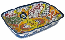 Scalloped Rectangular Mexican Ceramic Baking Dish