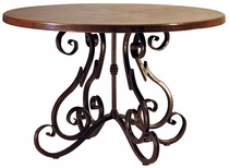 Scroll Base Copper Top Dining Table