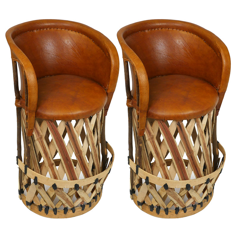 Set Of 2 Mexican Equipale Bar Stools With Cushioned Seat