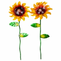 "Set of 2 Painted Metal Sunflowers - 18"" Tall"