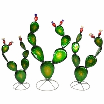 Set of 3 Prickly Pear Cactus Metal Sculptures - Green with Clear Coat
