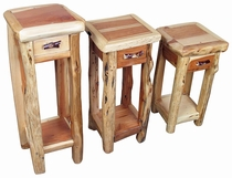 Set of 3 Rustic Cedar Accent Tables with Drawers