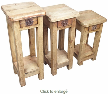 Set of 3 Rustic Pine Accent Tables with Drawers