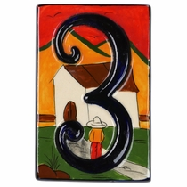 Set of 3 Talavera House Number Tiles - Embossed Southwest Village