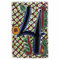Set of 4 Talavera House Number Tiles - Embossed 3-D Multi-Color