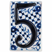 Set of 5 - Blue & White Talavera House Number Tiles - Embossed