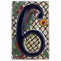 Set of 6 Talavera House Number Tiles - Multi-Color - Embossed 3-D