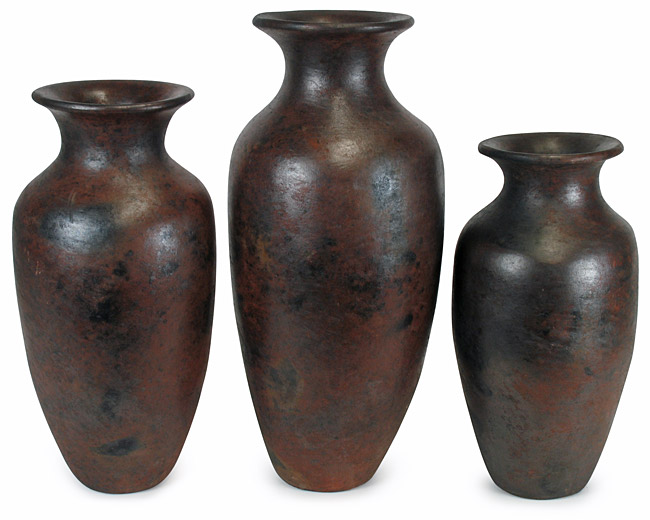 Set Of Three Medium Traditional Cocucho Floor Vases