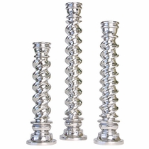 Set of Three Twisted Mexican Pewter Candlesticks